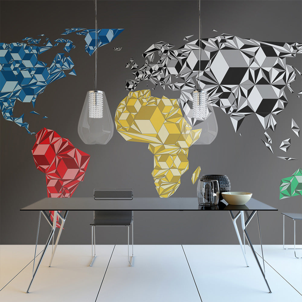 Fototapete - Map of the World - colorful solids - WELTKARTEN24