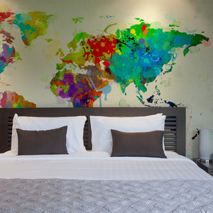 Fototapete - Paint splashes map of the World - WELTKARTEN24