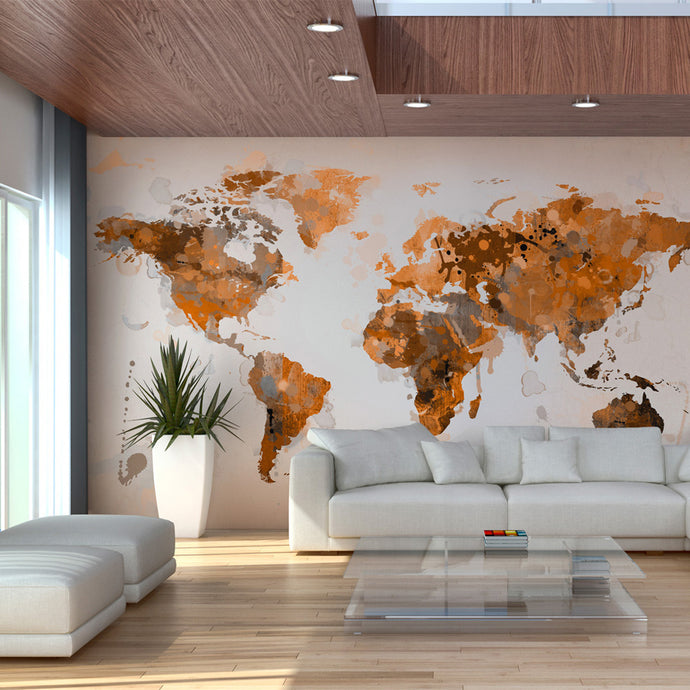 Fototapete - World in brown shades - WELTKARTEN24