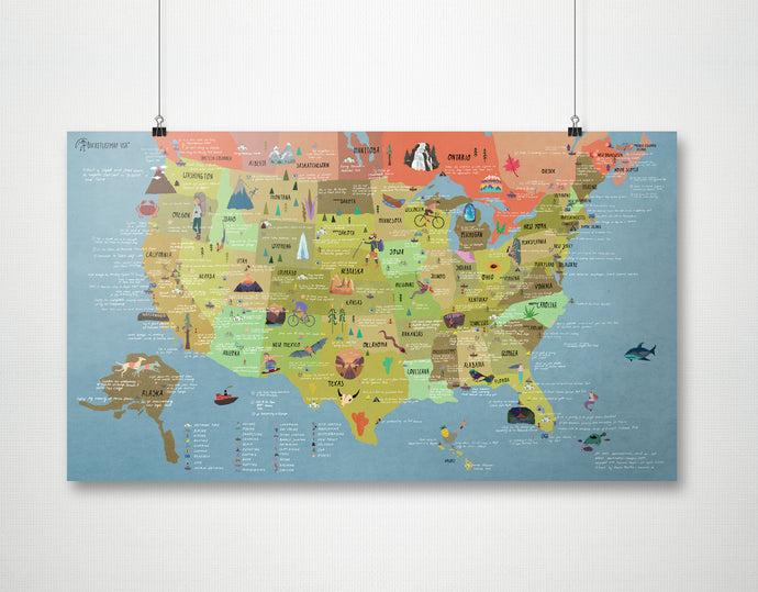 Bucketlist Map USA - Poster - WELTKARTEN24