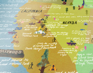 Bucketlist Map USA - Leinwand - WELTKARTEN24