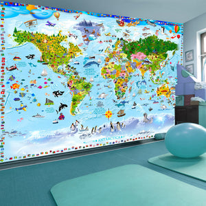 Fototapete - World Map for Kids - WELTKARTEN24
