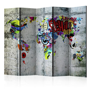 Paravent - Graffiti World (5-teilig) - WELTKARTEN24