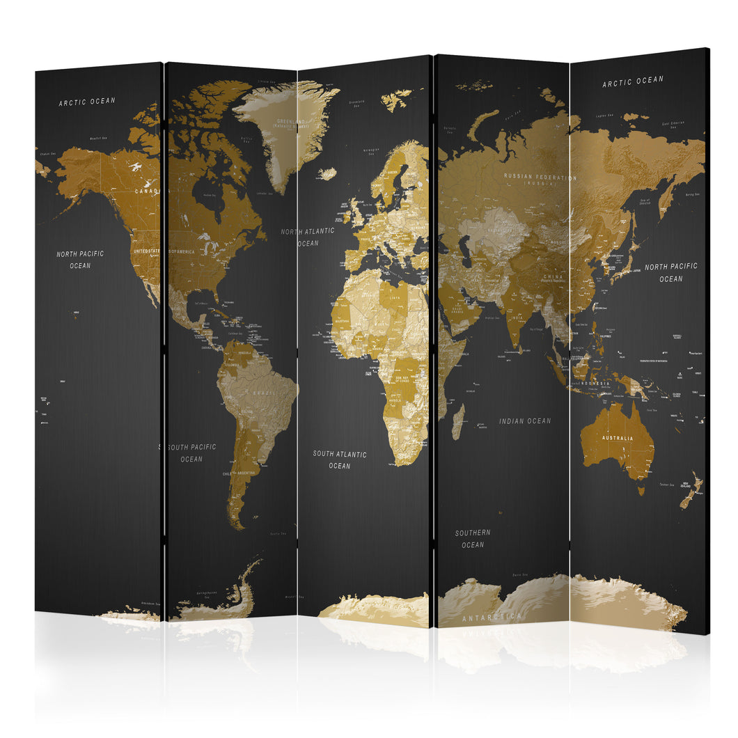 Paravent - World map on dark background (5-teilig) - WELTKARTEN24