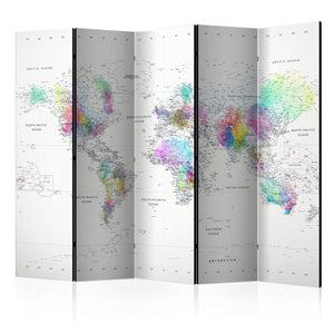 Paravent - White-colorful world map (5-teilig) - WELTKARTEN24