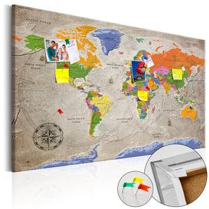 Pinnwand - Weltkarte World Map: Retro Style - WELTKARTEN24