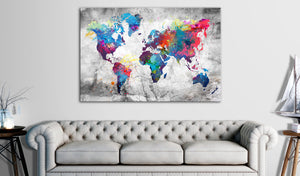 Pinnwand - Weltkarte World Map: Grey Style - WELTKARTEN24