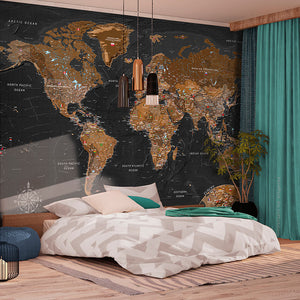 Fototapete - World: Stylish Map - WELTKARTEN24