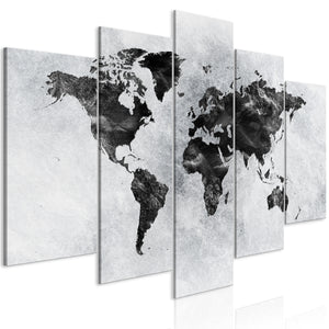 Weltkarte als Leinwandbild - Wandbild - Concrete World (5 Parts) Wide