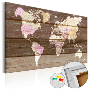 Pinnwand - Weltkarte Wooden World - WELTKARTEN24