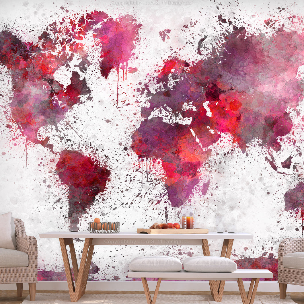 Fototapete - World Map: Red Watercolors - WELTKARTEN24