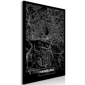 Weltkarte als Leinwandbild - Wandbild - Dark Map of Hamburg (1 Part) Vertical