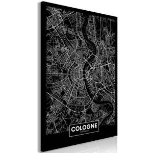 Weltkarte als Leinwandbild - Wandbild - Dark Map of Cologne (1 Part) Vertical