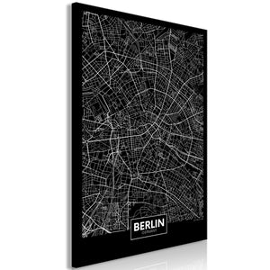 Weltkarte als Leinwandbild - Wandbild - Dark Map of Berlin (1 Part) Vertical
