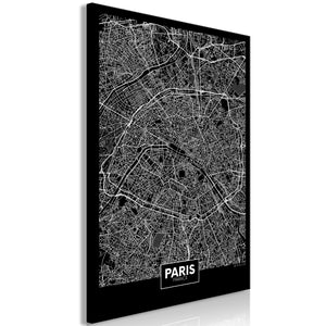 Weltkarte als Leinwandbild - Wandbild - Dark Map of Paris (1 Part) Vertical