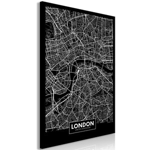 Weltkarte als Leinwandbild - Wandbild - Dark Map of London (1 Part) Vertical