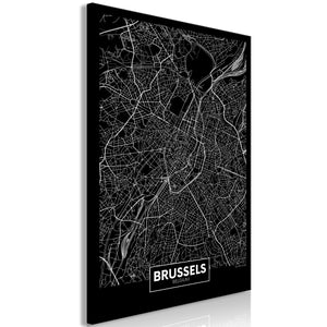 Weltkarte als Leinwandbild - Wandbild - Dark Map of Brussels (1 Part) Vertical