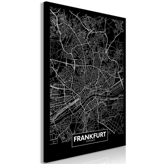 Weltkarte als Leinwandbild - Wandbild - Dark Map of Frankfurt (1 Part) Vertical