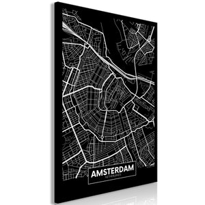 Weltkarte als Leinwandbild - Wandbild - Dark Map of Amsterdam (1 Part) Vertical