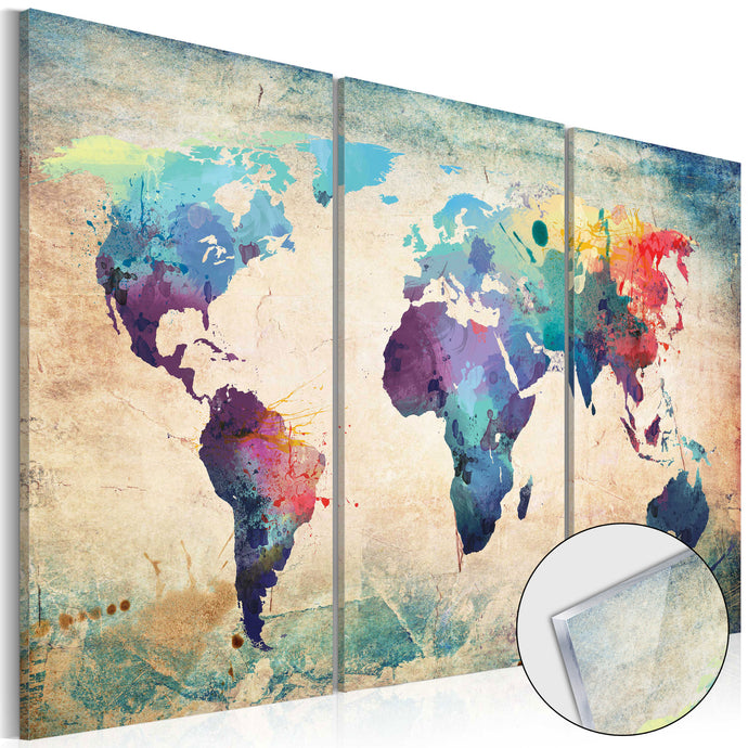 Glasbild - Rainbow Map - WELTKARTEN24