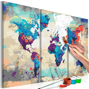 Malen nach Zahlen - World Map (Blue & Red) 3 Parts - WELTKARTEN24