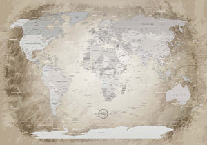 Premium Poster - World Map Beige - WELTKARTEN24