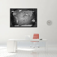 Laden Sie das Bild in den Galerie-Viewer, Leinwandbild - Weltkarte Black and White - WELTKARTEN24