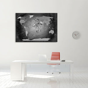 Leinwandbild - Weltkarte Black and White - WELTKARTEN24