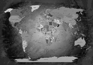 Premium Poster - World Map Black & White - WELTKARTEN24