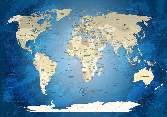 Premium Poster - World Map Blue Ocean - WELTKARTEN24