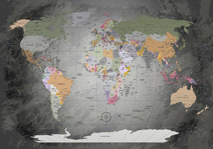 Premium Poster - World Map Edelgrau - WELTKARTEN24