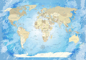 Premium Poster - World Map Frozen - WELTKARTEN24