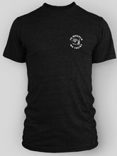 Load image into Gallery viewer, Lucky Penny Cycles Short Sleeve In Wheels We Trust T-shirt Black With White Printing