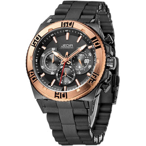 Crafted In Time Black Rose Gold Crafted Fashion Collection Men's Roebuck Fashion Quartz Watch