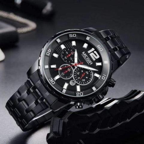 DELUXE Chronograph Men's Watch BLACK - Crafted In Time
