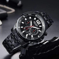 Crafted In Time Men' Fashion Watches BLACK Crafted Fashion Collection Men's Deluxe Chronograph Quartz Watch