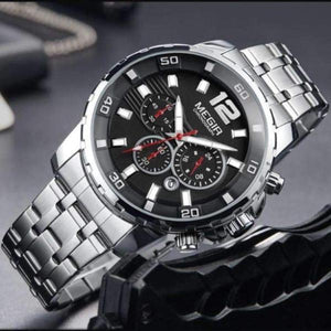 DELUXE Chronograph Men's Watch SILVER - Crafted In Time