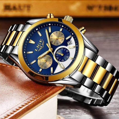 CUSTOM SHADES Quartz Men's Watch Steel Gold Blue - Crafted In Time