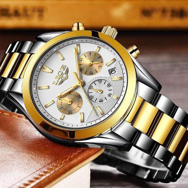 CUSTOM SHADES Quartz Men's Watch Steel Gold White - Crafted In Time