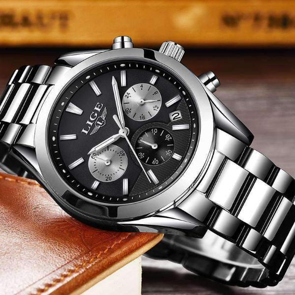 CUSTOM SHADES Quartz Men's Watch Steel Silver Black - Crafted In Time
