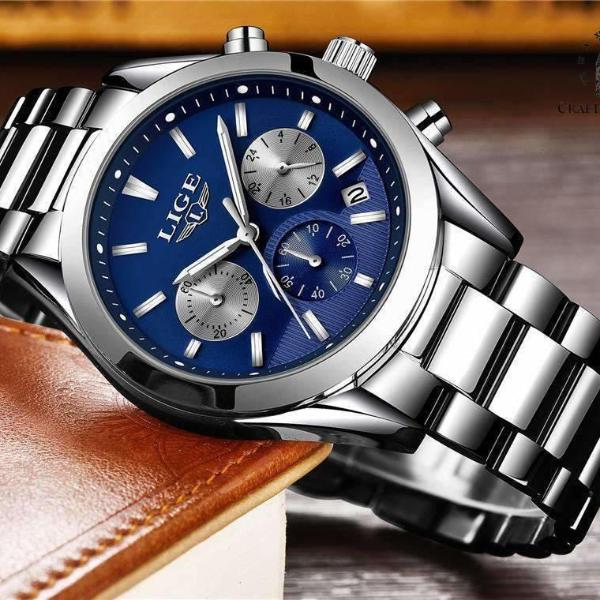 CUSTOM SHADES Quartz Men's Watch Steel Silver Blue - Crafted In Time