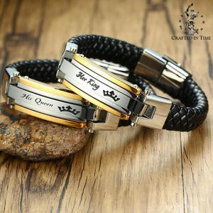 Couples His Queen / Her King Matching Leather Bracelet  - Crafted In Time