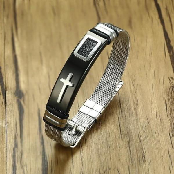 Men's Adjustable Cross Bracelet Black Silver - Crafted In Time
