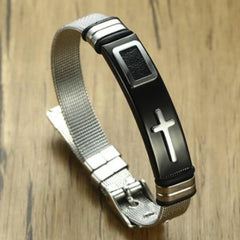 Men's Adjustable Cross Bracelet  - Crafted In Time