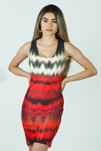 Load image into Gallery viewer, Car Head and Tail Lights on a Rainy Street Short Bodycon Dress