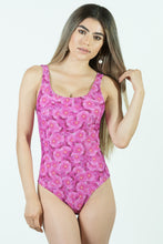 Load image into Gallery viewer, Pink Flowers One Piece Swimsuit