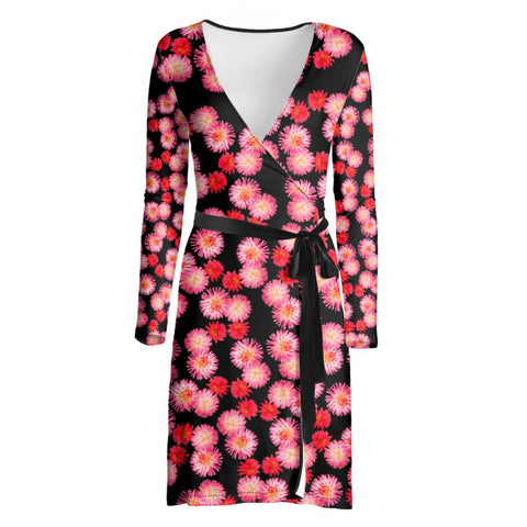Pink Flowers Wrap Dress