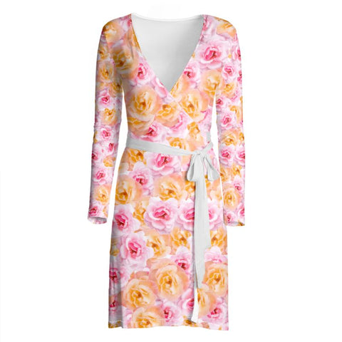 San Jose Roses Wrap Dress