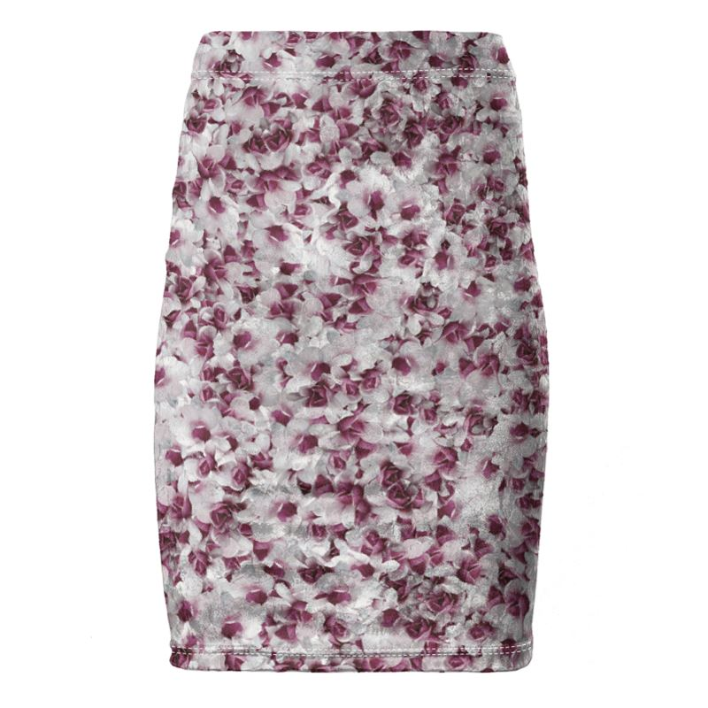 Purple and White Flower Pencil Skirt