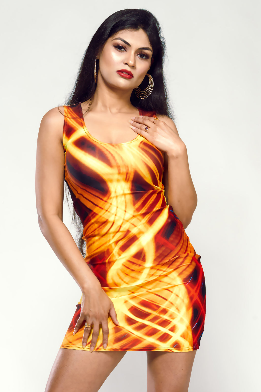 Two Light Paintings Short Bodycon Dress